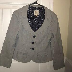 Nanette Lepore Size 10 Navy Blue Pinstriped Blazer